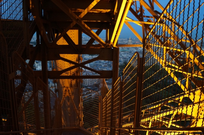 Corner Stair Tower At Night : My favorite climb the eiffel tower couple of travels